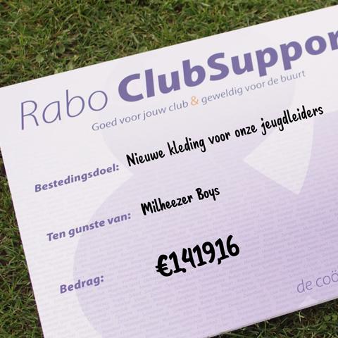 Rabo ClubSupport levert mooi bedrag op voor de club: bedankt voor jullie stem!